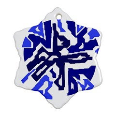 Deep Blue Abstraction Ornament (snowflake)  by Valentinaart