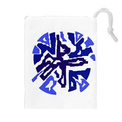 Deep Blue Abstraction Drawstring Pouches (extra Large) by Valentinaart