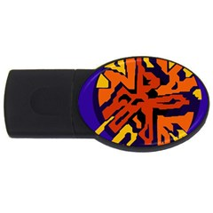 Orange Ball Usb Flash Drive Oval (2 Gb)  by Valentinaart