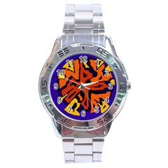 Orange Ball Stainless Steel Analogue Watch by Valentinaart