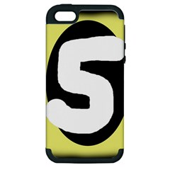 Number Five Apple Iphone 5 Hardshell Case (pc+silicone) by Valentinaart