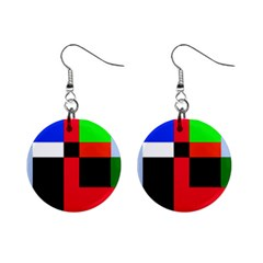 Colorful Abstraction Mini Button Earrings by Valentinaart