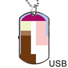 Colorful Abstraction Dog Tag Usb Flash (one Side) by Valentinaart