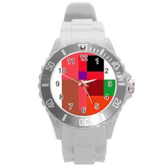 Colorful Abstraction Round Plastic Sport Watch (l) by Valentinaart