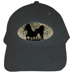 Wonderful Black Horses, With Floral Elements, Silhouette Black Cap by FantasyWorld7