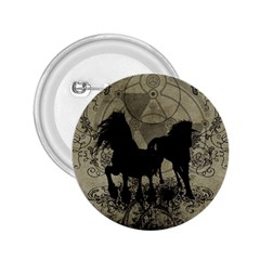 Wonderful Black Horses, With Floral Elements, Silhouette 2 25  Buttons by FantasyWorld7