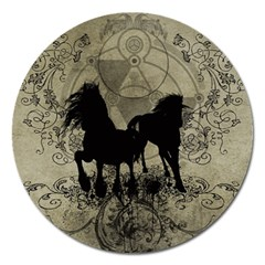 Wonderful Black Horses, With Floral Elements, Silhouette Magnet 5  (round) by FantasyWorld7