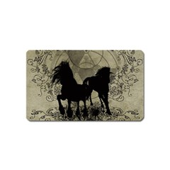 Wonderful Black Horses, With Floral Elements, Silhouette Magnet (name Card) by FantasyWorld7