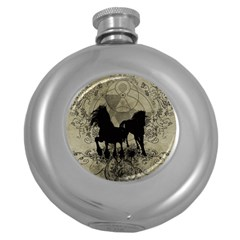 Wonderful Black Horses, With Floral Elements, Silhouette Round Hip Flask (5 Oz) by FantasyWorld7