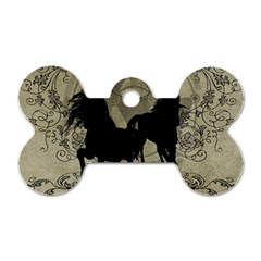 Wonderful Black Horses, With Floral Elements, Silhouette Dog Tag Bone (two Sides)