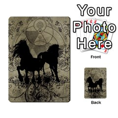 Wonderful Black Horses, With Floral Elements, Silhouette Multi Purpose Cards (rectangle)  by FantasyWorld7