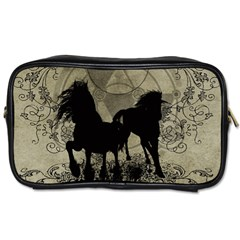 Wonderful Black Horses, With Floral Elements, Silhouette Toiletries Bags 2 Side by FantasyWorld7