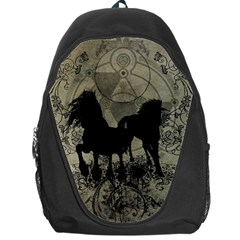 Wonderful Black Horses, With Floral Elements, Silhouette Backpack Bag by FantasyWorld7