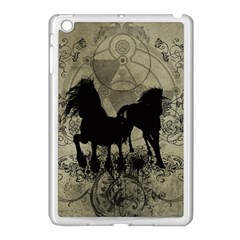 Wonderful Black Horses, With Floral Elements, Silhouette Apple Ipad Mini Case (white) by FantasyWorld7