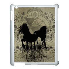 Wonderful Black Horses, With Floral Elements, Silhouette Apple Ipad 3/4 Case (white) by FantasyWorld7