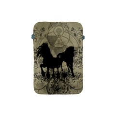 Wonderful Black Horses, With Floral Elements, Silhouette Apple Ipad Mini Protective Soft Cases by FantasyWorld7