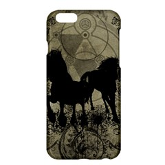 Wonderful Black Horses, With Floral Elements, Silhouette Apple Iphone 6 Plus/6s Plus Hardshell Case by FantasyWorld7