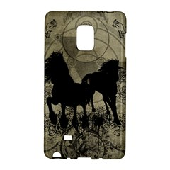 Wonderful Black Horses, With Floral Elements, Silhouette Galaxy Note Edge by FantasyWorld7