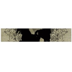 Wonderful Black Horses, With Floral Elements, Silhouette Flano Scarf (large) by FantasyWorld7