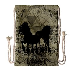 Wonderful Black Horses, With Floral Elements, Silhouette Drawstring Bag (large) by FantasyWorld7