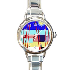 Abstract Landscape Round Italian Charm Watch