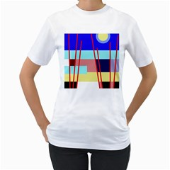 Abstract Landscape Women s T Shirt (white) (two Sided) by Valentinaart