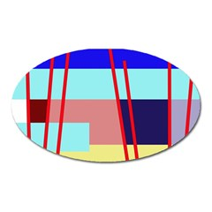 Abstract Landscape Oval Magnet by Valentinaart