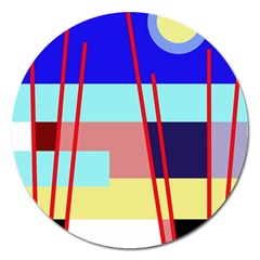 Abstract Landscape Magnet 5  (round) by Valentinaart