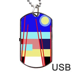 Abstract Landscape Dog Tag Usb Flash (one Side) by Valentinaart