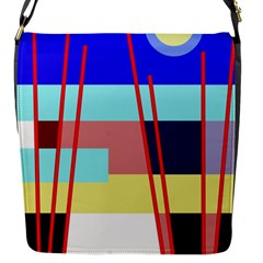 Abstract Landscape Flap Messenger Bag (s) by Valentinaart
