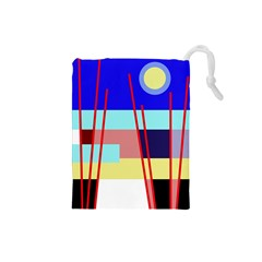 Abstract Landscape Drawstring Pouches (small)  by Valentinaart