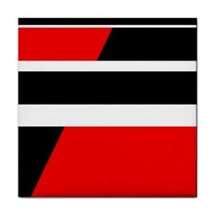 Red, White And Black Abstraction Tile Coasters by Valentinaart