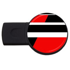 Red, White And Black Abstraction Usb Flash Drive Round (4 Gb)  by Valentinaart