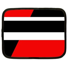 Red, White And Black Abstraction Netbook Case (large) by Valentinaart
