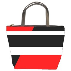 Red, White And Black Abstraction Bucket Bags by Valentinaart