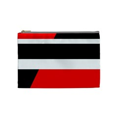 Red, White And Black Abstraction Cosmetic Bag (medium)  by Valentinaart