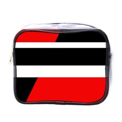 Red, White And Black Abstraction Mini Toiletries Bags by Valentinaart