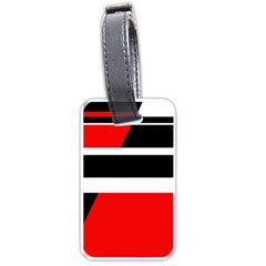 Red, White And Black Abstraction Luggage Tags (one Side)  by Valentinaart