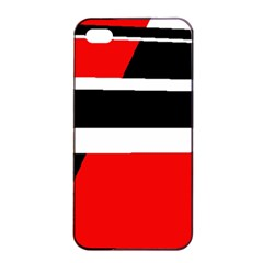 Red, White And Black Abstraction Apple Iphone 4/4s Seamless Case (black) by Valentinaart