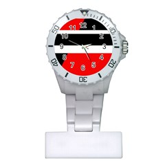 Red, White And Black Abstraction Plastic Nurses Watch by Valentinaart