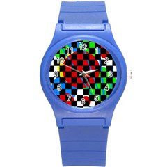 Colorful Abstraction Round Plastic Sport Watch (s) by Valentinaart