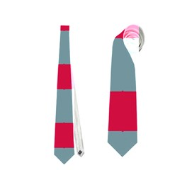 Red Blue Shapes Pattern                                                                                     Necktie by LalyLauraFLM