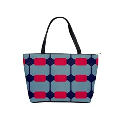 Red Blue Shapes Pattern                                                                                     Classic Shoulder Handbag by LalyLauraFLM