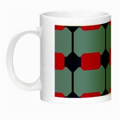 Red Blue Shapes Pattern                                                                                     Night Luminous Mug by LalyLauraFLM