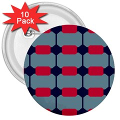 Red Blue Shapes Pattern                                                                                     			3  Button (10 Pack) by LalyLauraFLM