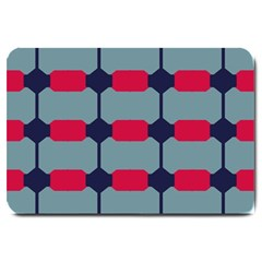 Red Blue Shapes Pattern                                                                                     			large Doormat by LalyLauraFLM