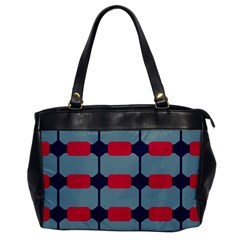 Red Blue Shapes Pattern                                                                                     			oversize Office Handbag by LalyLauraFLM