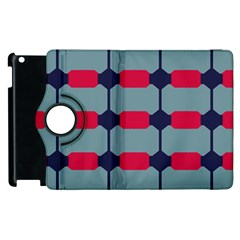 Red Blue Shapes Pattern                                                                                     			apple Ipad 3/4 Flip 360 Case by LalyLauraFLM