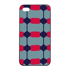 Red Blue Shapes Pattern                                                                                     			apple Iphone 4/4s Seamless Case (black) by LalyLauraFLM