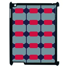Red Blue Shapes Pattern                                                                                     			apple Ipad 2 Case (black) by LalyLauraFLM